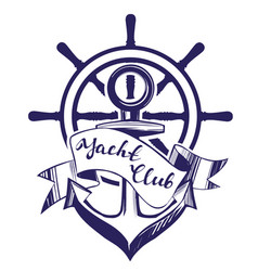anchor and wheel emblem sign symbol vector image