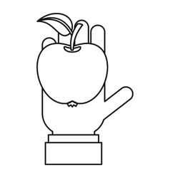 Apple in hand icon outline style vector