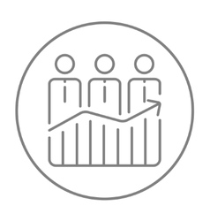 Businessmen standing on profit graph line icon vector image