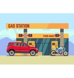 Cars and motorcycles at gas filling station flat vector image