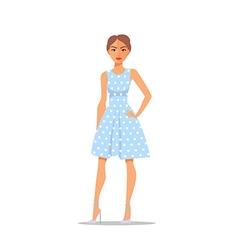 Cartoon Woman character on polka dot dress vector image vector image