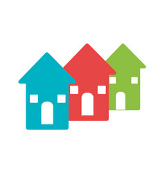 Color pictogram with set of houses vector