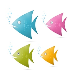 Colorful Fish Set Isolated on White Background vector image