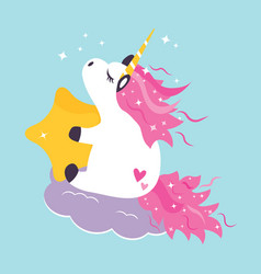cute dreaming unicorn vector image