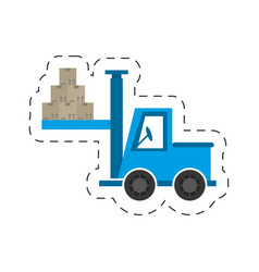 Delivery truck forklift boxes vector
