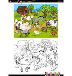 farm animals coloring book vector image vector image