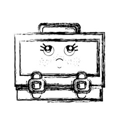 Figure kawaii cute thinking suitcase design vector