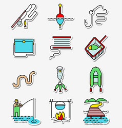 Fishing hobby icons set in line art thin and vector