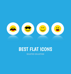 Flat icon face set of cheerful wonder smile and vector