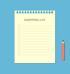 flat shopping list and pencil on blue background vector image vector image