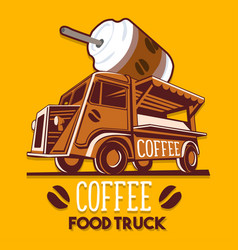Food truck coffee cafe breakfast delivery service vector