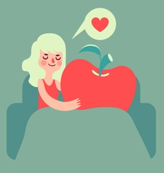 Girl Holding an Apple vector image