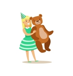 Girl holding giant teddy bear kids birthday party vector