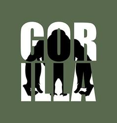 Gorilla silhouette of wild animal in text big vector