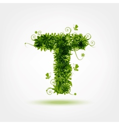 Green eco letter T for your design vector image