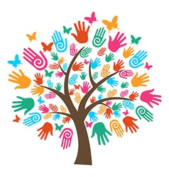 Isolated diversity tree hands vector