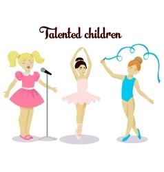 Little talented girls set vector