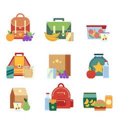 Lunch box and bag with healthy food for kids vector