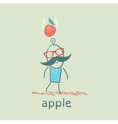 man falls down an apple vector image vector image