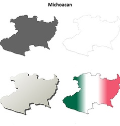 Michoacan blank outline map set vector image vector image