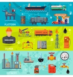 Oil industry banners vector