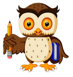 owl carrying book and pencil vector image vector image