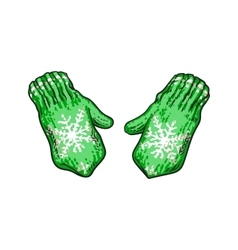 Pair of bright green winter knitted mittens with vector