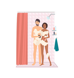 Pair of smiling man and woman taking shower vector