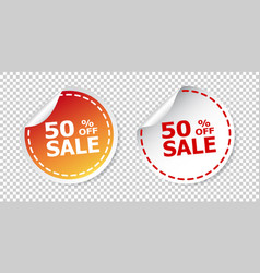 Sale stickers 50 percent off on isolated vector