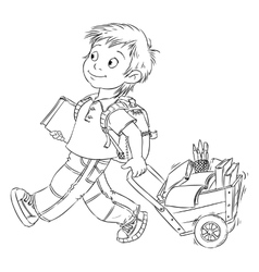 Schoolboy with a cart vector image vector image