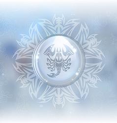 Snow globe with zodiac sign scorpio vector