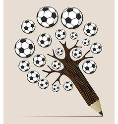 Soccer ball pencil tree concept vector image vector image