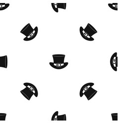 Top hat with buckle pattern seamless black vector
