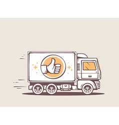 Truck best delivery of goods to customer vector