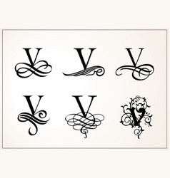 vintage set capital letter v for monograms and vector image vector image