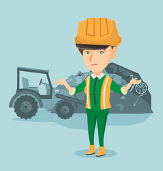 Worker of rubbish dump standing with spread arms vector