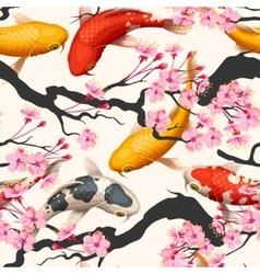 Koi fish and sakura seamless vector image