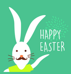 Happy easter holiday hipster bunny card design vector