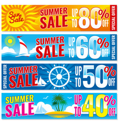 Summer shopping banners set hot price vector