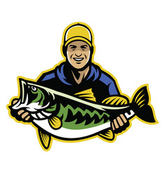fisherman and big catch of largemouth bass fish vector image