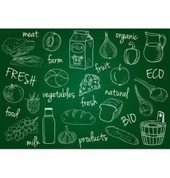 Farm products doodles school board vector