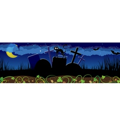 Night cemetery and black cat vector