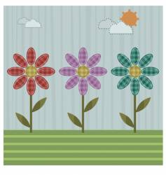 Patchwork flowers vector