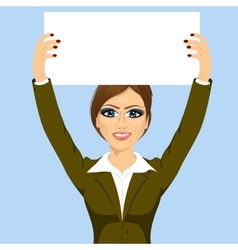 Businesswoman holding white blank board vector