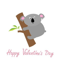 Happy valentines day love card cute koala baby vector