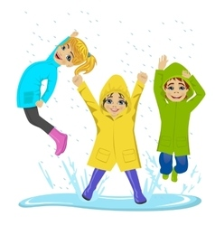 Little kids playing on puddle vector