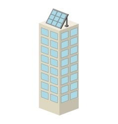 Building with panel solar isolated icon design vector
