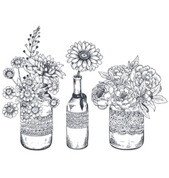 Bouquets with hand drawn flowers and plants in vector image vector image