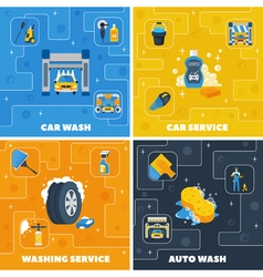 Car wash 4 flat icons square vector