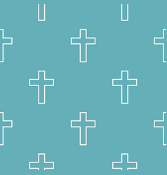 catholic cross pattern seamless blue vector image